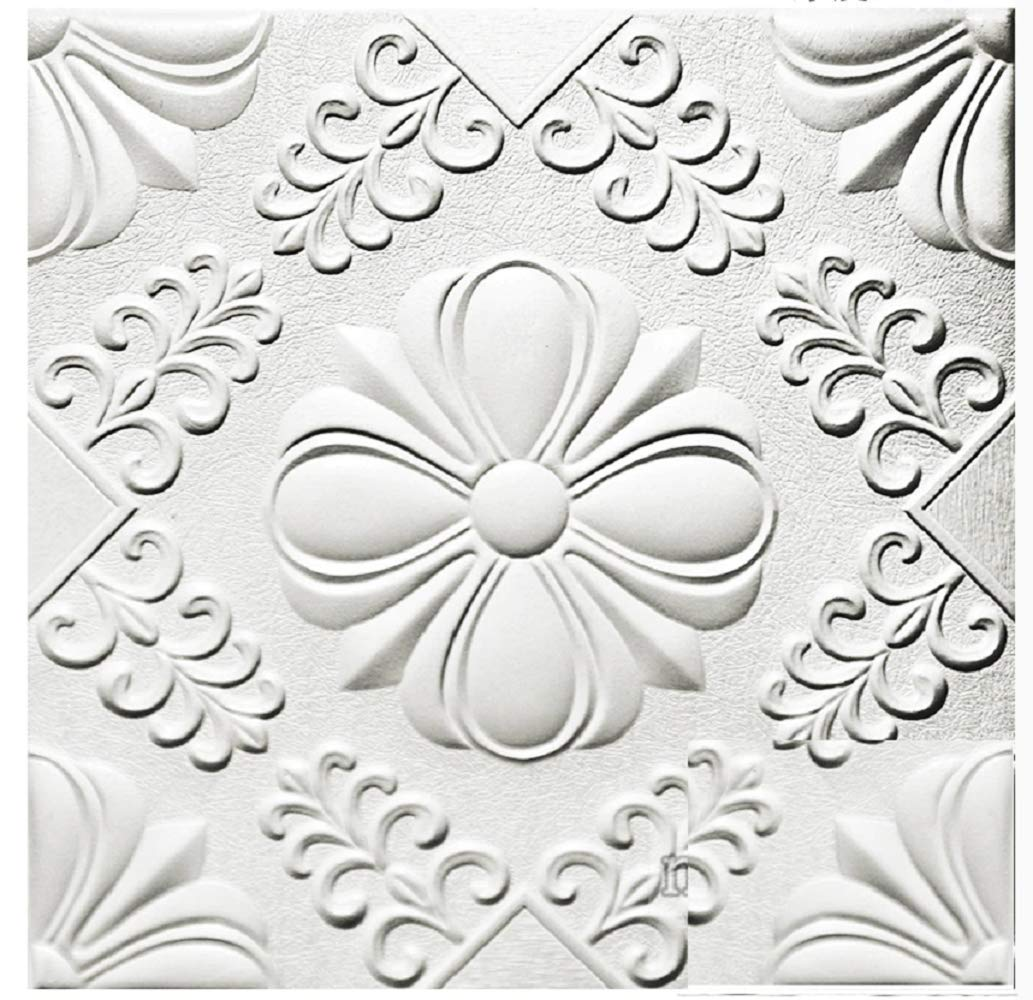 Nasmodo Foam Wall 3D Ceiling Wallpaper Tiles Panel Vinyl Stickers self-Adhesive for Home, Living Room, Bedroom Wall Panels(60*60cm)