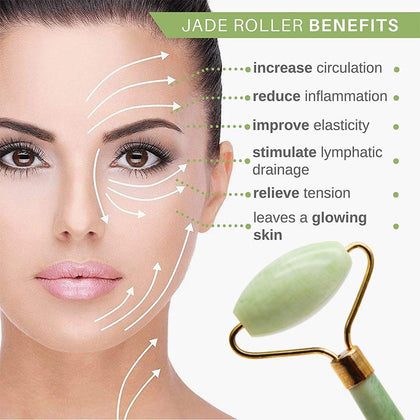 NUCARTURE® jade roller for face and eyes and jade face roller massager for women,wrinkle wrinkle remover massager tool jade rollers
