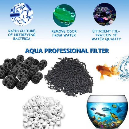 DESPACITO® Aquarium Canister Filter Media kit Biological Fish Tank Filtration Biomedia Set -25 pcs Bio Ball 500 Gram Ceramic Ring,Activated Carbon 500 Gram for Aquarium Pond Aquaculture (Triple Pack) (Pack 1)