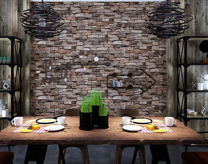 Nasmodo® Multipurpose 3D Brick Stone Wall Stickers Wallpaper for Walls self Adhesive Rolls,Wall Home Decor Stickers for Bedrooms,Living Room, Hall, Hotels, Restaurants (Rock Stone, 45 * 100cm)