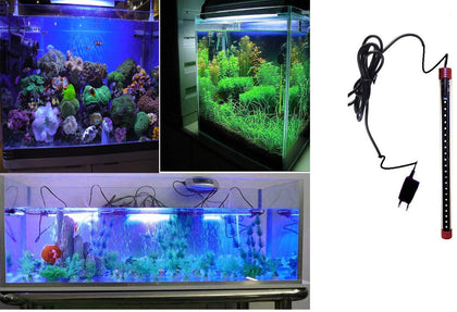 DESPACITO® Aquarium LED light for fish tank, waterproof submersible light for fresh and salt water LED lamp bar stick RS-300LE (Blue and White)