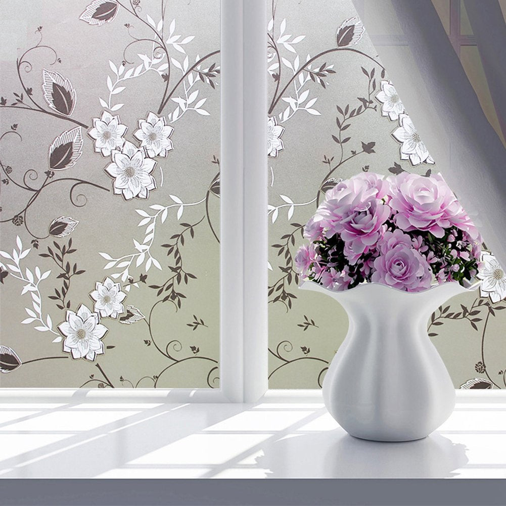 Nasmodo®3D Window wall paper   PVC Sticker Frosted Glass Film for Privacy Frosting Vinyl Stickers for Glass Doors Waterproof Sheets for Front Door,Bathroom,Sidelight,Small Window