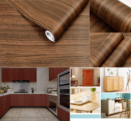 Nasmodo®Multipurpose waterproof Pvc wallpapers for walls wood self adhesive Decorative Grain vinyl Textured Peel & Stick Wardrobe counter wooden wall paper for kitchen,furniture and drawer,living room ,table.