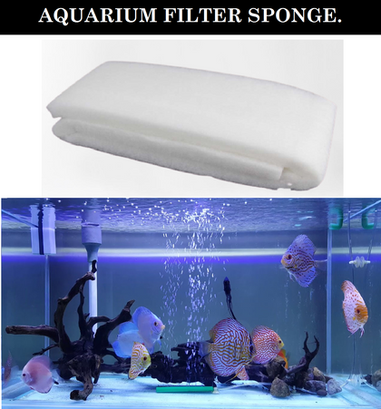 DESPACITO® Aquarium White Sponge Filter for Fish Tank (XY-1825) (Size: 100 x 30 x 3cm).