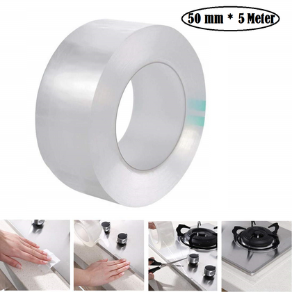 Hukimoyo® Kitchen Tape for Sink, Kitchen Tape Sticker Waterproof Kitchen Sealing Tape, Sink Corner Tape Transparent Tape Seal Strip (1 Pc) (50 mm * 5 Meter)