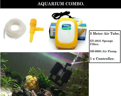 DESPACITO® Aquarium Air Pump Power 3.5 W (Yellow and White, SB-9903), Bio-Sponge Filter for Fish Tank (Model:  Xy-2831) with 5 Meter Tube and 1 Controller.