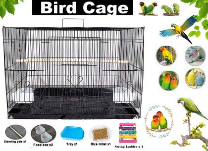 Metal Foldable Nest Bird House , Travel Carrier hanging Cage with swing, two feeder bowls ,wooden perch stick and seeds (Black ,62*42 cm cage )