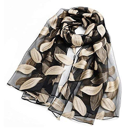 Sozzumi Women's Summer Breeze Lightweight Scarf Wrap With Colorful Leaf Design Transparent Shawl For Stylish Girls (1 Pc)