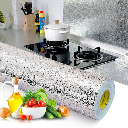 Nasmodo®self-Adhesive Wallpapers Aluminium foil Sticker for Wall with Oil Proof Heat Resistant Stove Cabinet Stickers Kitchen backsplash Wall Tile Sticker