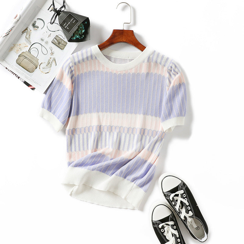 New fashion spring wear knitted top for women with short sleeves