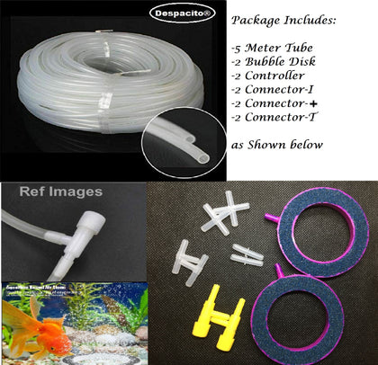 DESPACITO Aquarium Multi Uses of 5 Meter PVC Hose Air Pump Air Line and 3 Different Air Valves Plastic,2 Aquarium Controller,2 Aquarium Bubbles Air Oxygen Ring
