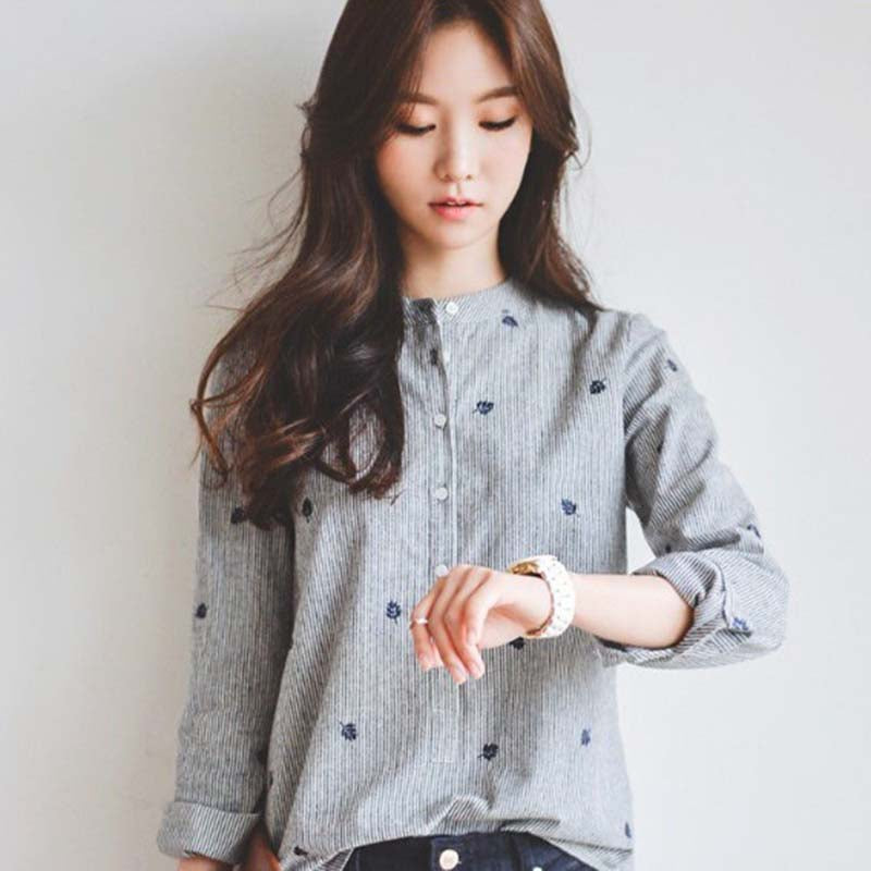 Long sleeve autumn shirt for women with embroidery leaves