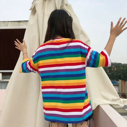 Rainbow striped funky t-shirt for women