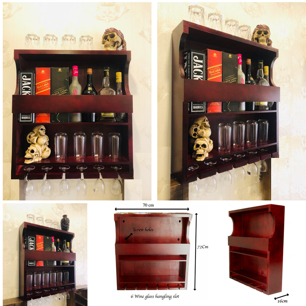 METRENO® Wall Mounted Wine Rack - Bottle & Glass Holder - Antique Style Handcrafted Rustic Hanging Rack - Mini Bar Cabinets for Home - Kitchen Rack & Shel