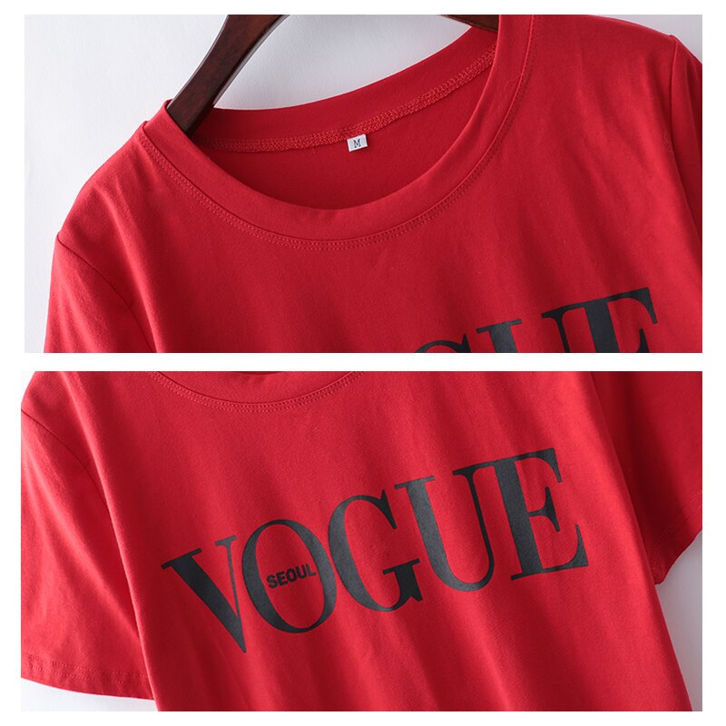 Vogue's new launch of printed red Casual summer women T-Shirt with round neck & short sleeve.