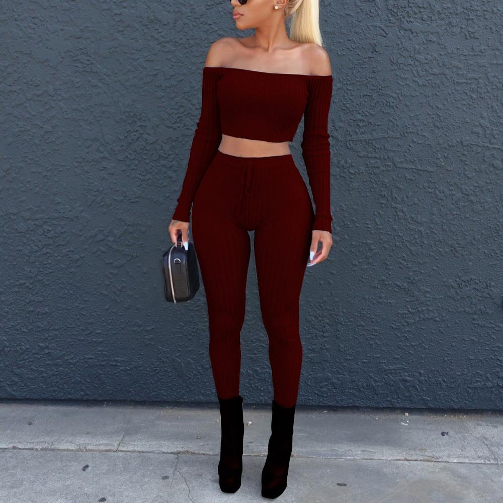 Two Piece Set - Off Shoulder Top with Drawstring Leggings - NOVID Fit