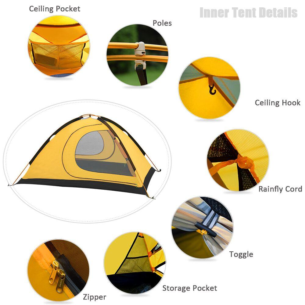 GeerTop 2 Person, 4 Season Waterproof Ultralight Double Layered Tent with Snow Skirt - NOVID Fit