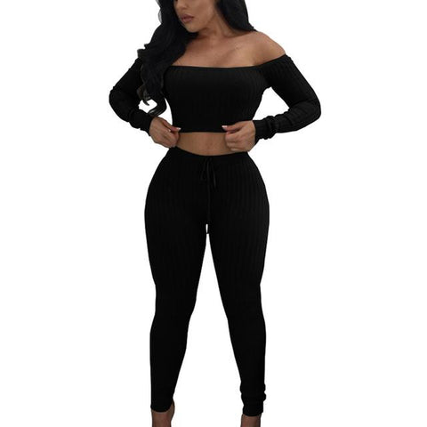 Image of Two Piece Set - Off Shoulder Top with Drawstring Leggings - NOVID Fit