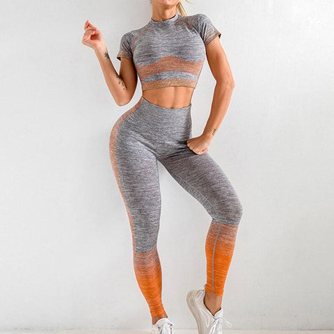 Seamless Yoga Sport Two Piece Crop Top + Leggings - NOVID Fit