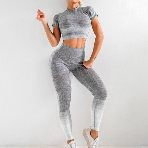 Image of Seamless Yoga Sport Two Piece Crop Top + Leggings - NOVID Fit