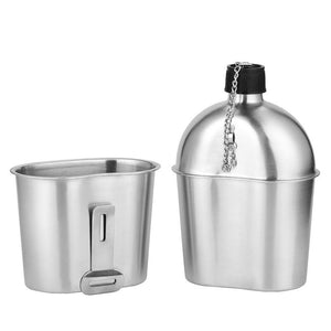 2in1 1000ml Stainless Steel Military Grade Water Canteen with Storage