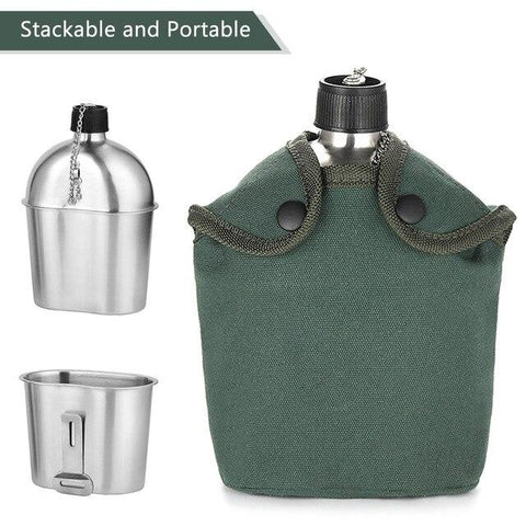 Image of 2in1 1000ml Stainless Steel Military Grade Water Canteen with Storage - NOVID Fit