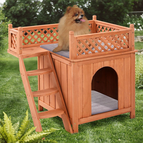 Outdoor Weather Resistant Wooden Puppy Pet Dog House
