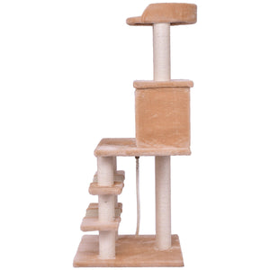 "52"" Tower Condo Scratching Post Cat Tree with Rope and Mouse"