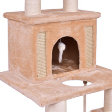 "Load image into Gallery viewer, 52"" Tower Condo Scratching Post Cat Tree with Rope and Mouse"