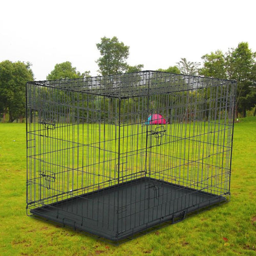 20/24/42 inch Pet Kennel Cat/Dog Folding Steel Crate Animal Playpen Wire Cage