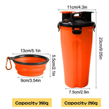 Load image into Gallery viewer, 2 In 1 Dog/Cat Water Bottle / Food Container Bowl Great for Travel