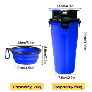 2 In 1 Dog/Cat Water Bottle / Food Container Bowl Great for Travel