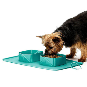 Dog/Cat Folding Bowl - Silicone Double Bowls Dog Feeder Easy Cleaning Dog Feeding Portable for Travel