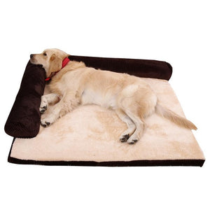 Dog/Cat Bed soft Cushion L Shaped Square Pillow, Machine Washable Cover, and Detachable Mat Sizes S-L