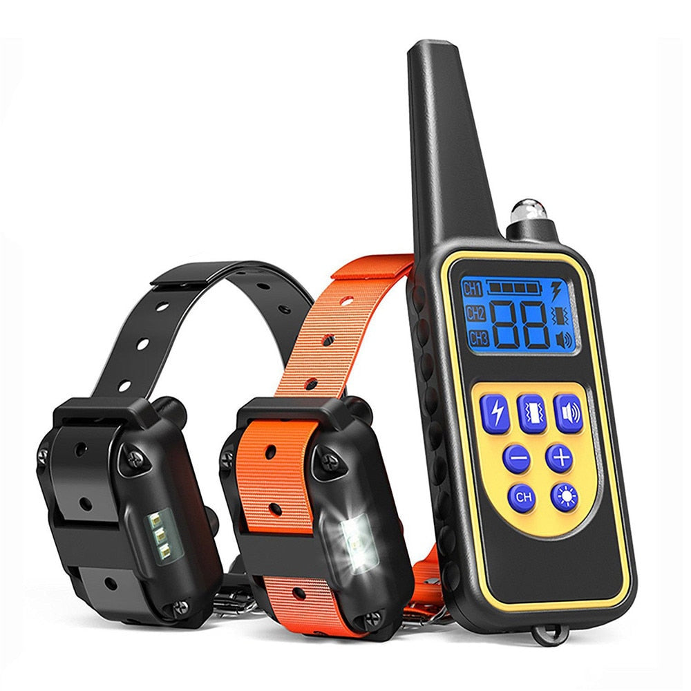 Electric Pet Dog Training Collar Shock Remote Control Waterproof Chargeable LCD Display 1-2 pets