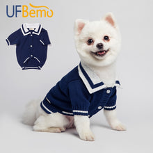 Load image into Gallery viewer, Dog Sweater or Cat Jersey Cardigan Sweaters for Small Medium Dogs Cat Navy Winter Cotton