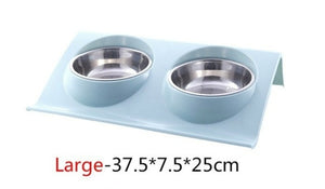 Double Dog/Cat Bowl Feeding Station Stainless Steel Water & Food Bowls