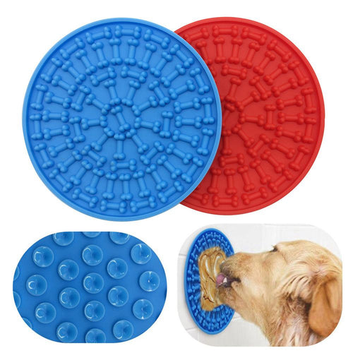 Silicone Dog Feeding Lick Mat /Bowl For Bath Distraction Easy Grooming Dog