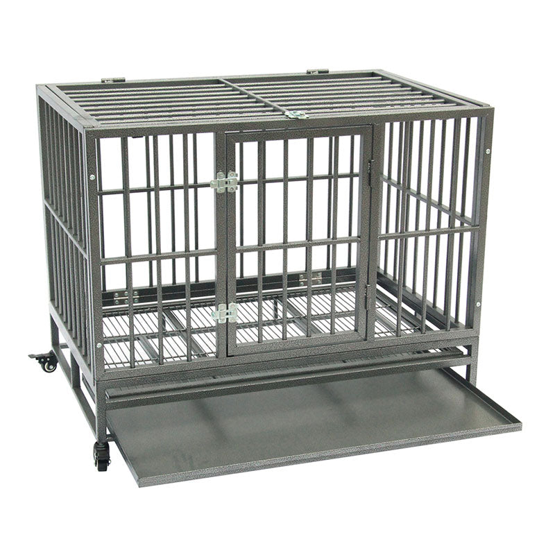 42 inch Portable Metal Dog/Cat Cage Kennel Crate with Tray Heavy Duty Strong with Wheel Pet Kennel