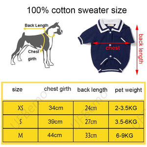 Dog Sweater or Cat Jersey Cardigan Sweaters for Small Medium Dogs Cat Navy Winter Cotton