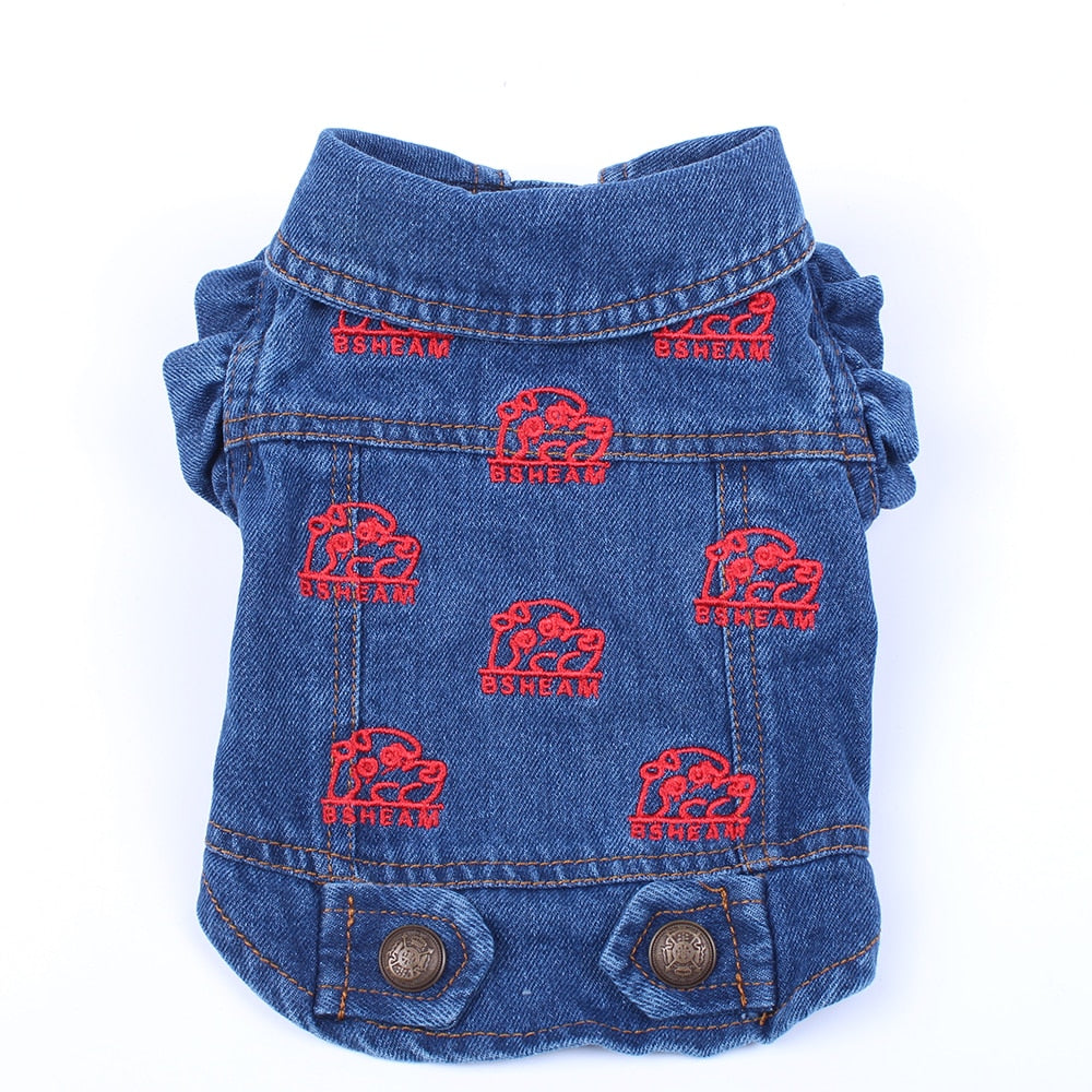 Pet Dog/Cat Jeans Jacket Strawberry Blue Denim Coat Vest Pet Puppy Clothes Apparel 6 sizes