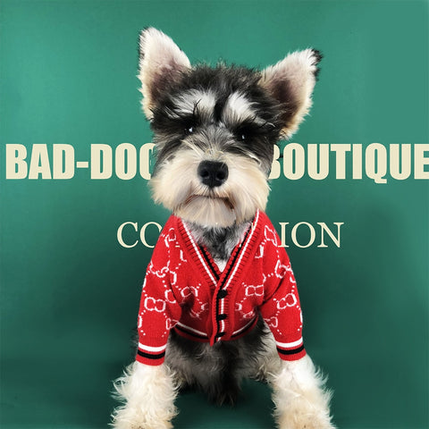 Fashion Dog Sweater Self Designed Cardigan Printed Single Breasted Gentleman Dog Clothes Sizes S-XXL