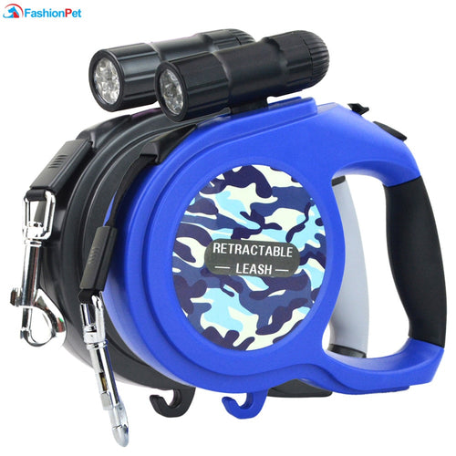 8M 50kg Large Dog Leash Retractable Extending Pet Leash Lead for Big and Medium Dog with LED