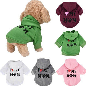 Small Pet Dog Clothes I LOVE MY MOM Costume Cotton Blend Hooded Dog Coats