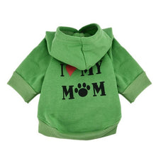Load image into Gallery viewer, Small Pet Dog Clothes I LOVE MY MOM Costume Cotton Blend Hooded Dog Coats