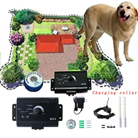 Safety In-ground Dog Electric Fence w/Chargeable Electronic Training Collar System 1 to 3 Dogs w/different plugs