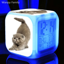 Load image into Gallery viewer, Cute Kitten Alarm Clock 7 Color LED Glowing Digital Alarm Clock For Kids room Night Light
