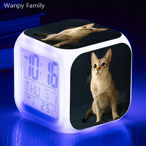 Cute Kitten Alarm Clock 7 Color LED Glowing Digital Alarm Clock For Kids room Night Light