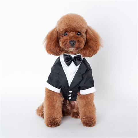 Fashion Black Bow Tie Pet Dog or Cat Costume Tuxedo Formal Party or Wedding Apparel S-XXL