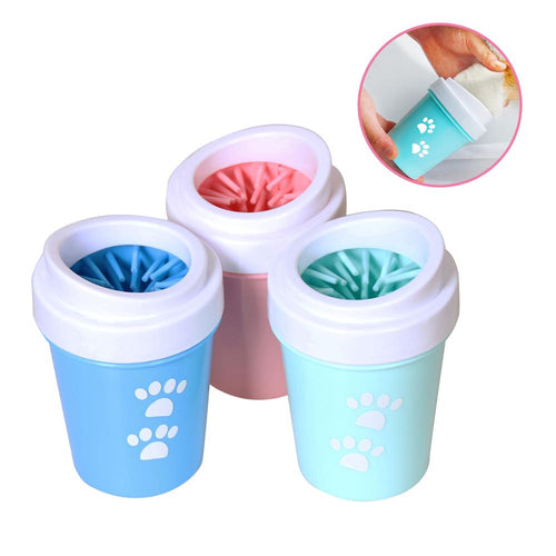 Dog or Cat Paw Cleaner  Pet Foot Washer Cup Soft Brush Dog Foot Cleaner